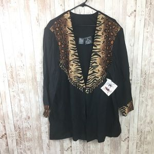 Vintage NWT Cheetah Black Button Top 1X
